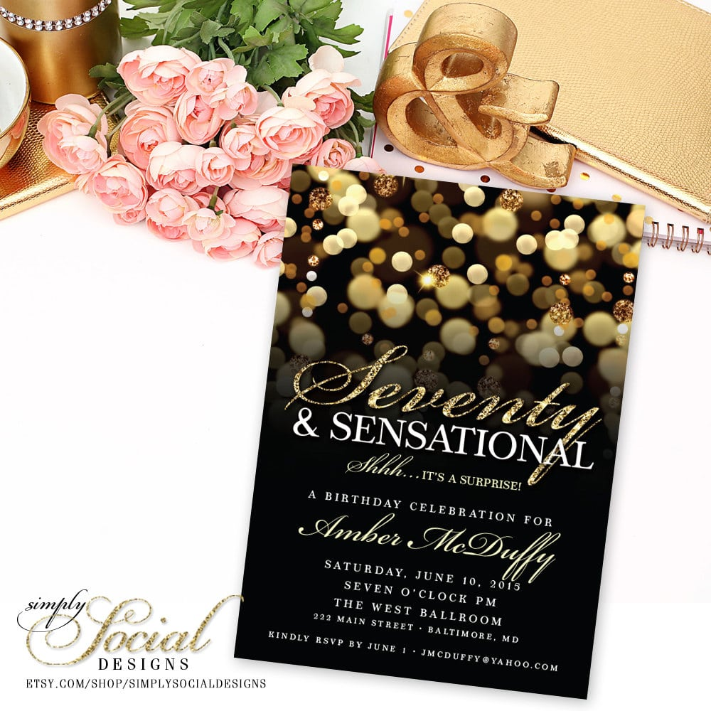 Surprise 70th Birthday Party Invitation With Gold Glitter Bokeh