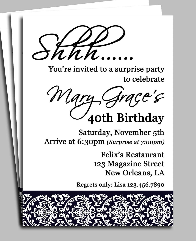 Surprise Party Invitation Wording