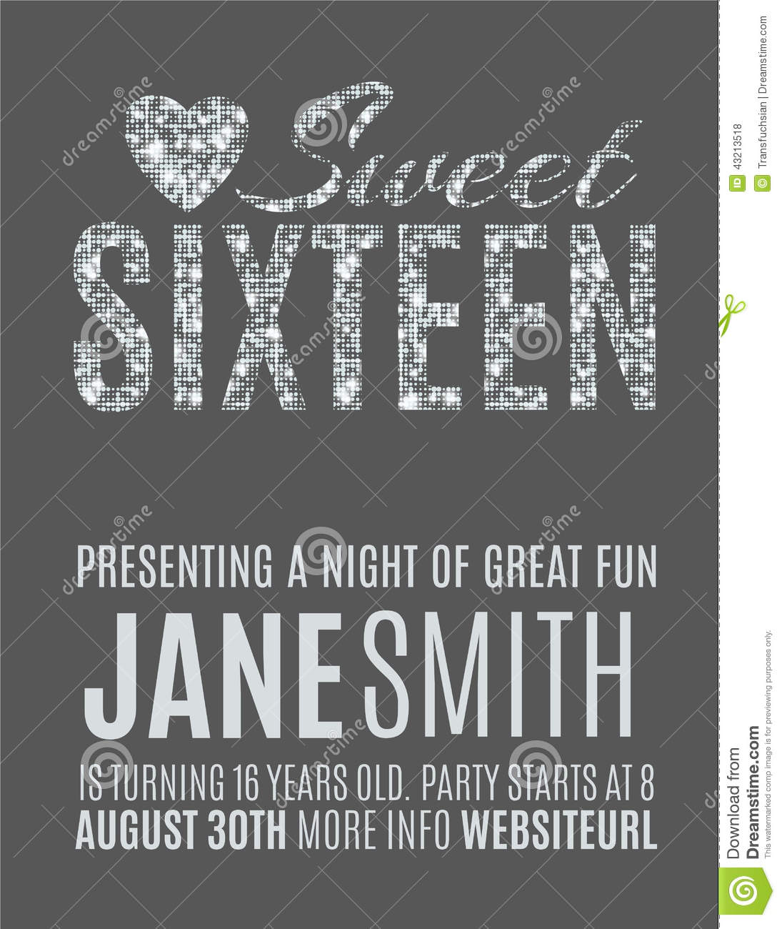 Sweet 16 Party Invitation Template Stock Vector