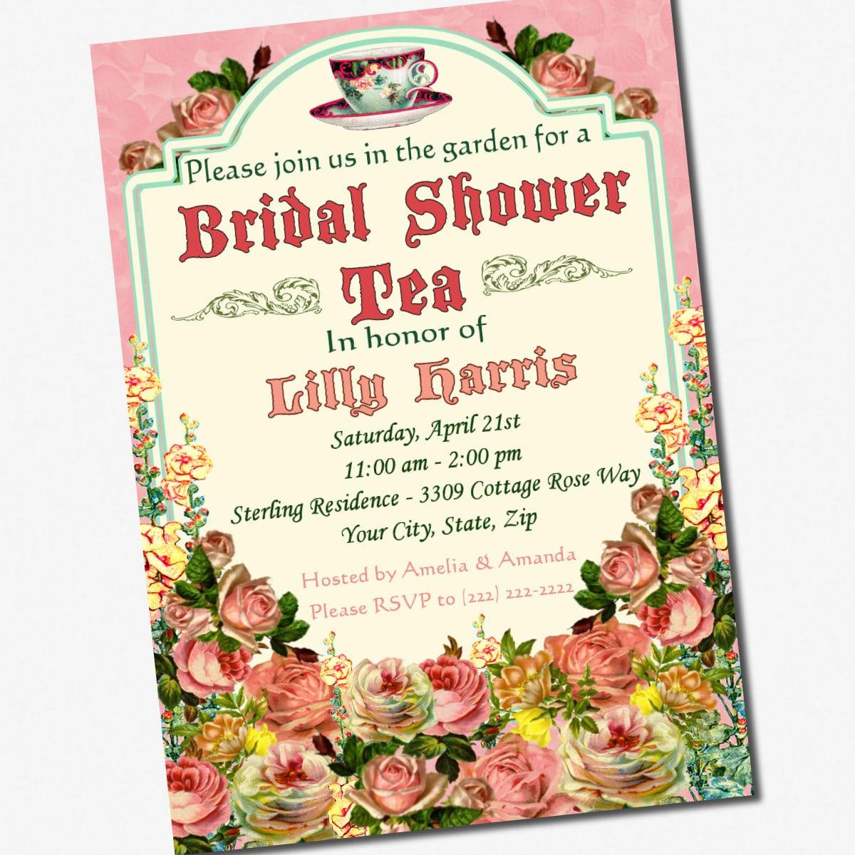 Tea Party Bridal Shower Invitations