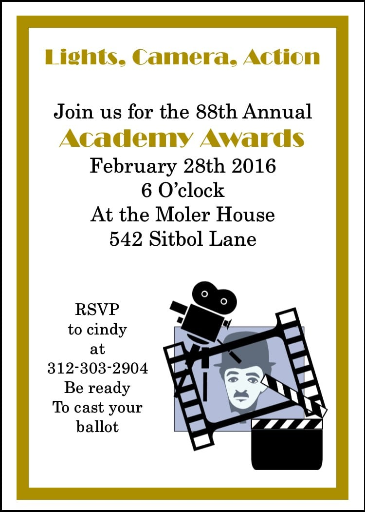 Template Sample  Gorgeous Academy Awards Party Invitations Highest