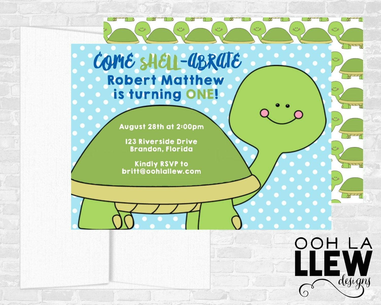 Turtle Invitation, Turtle Birthday, Turtle Invitations, Turtle