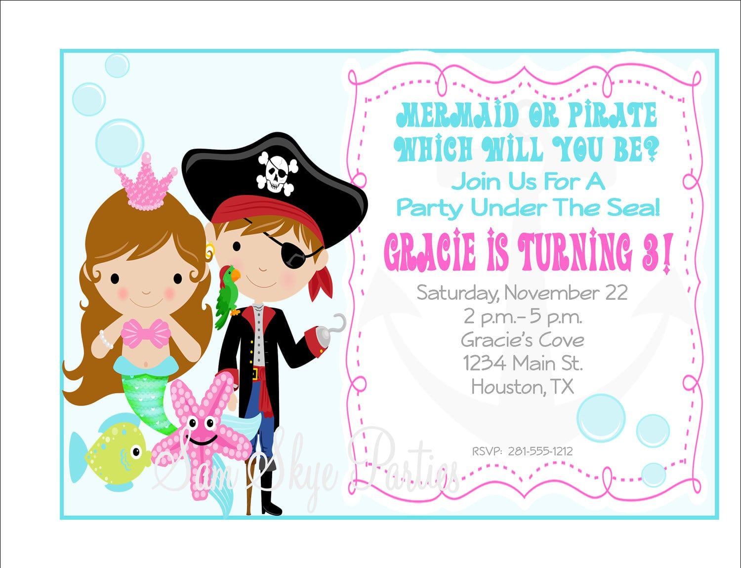 Under The Sea, Pirate And Mermaid Invitation, Birthday Parties