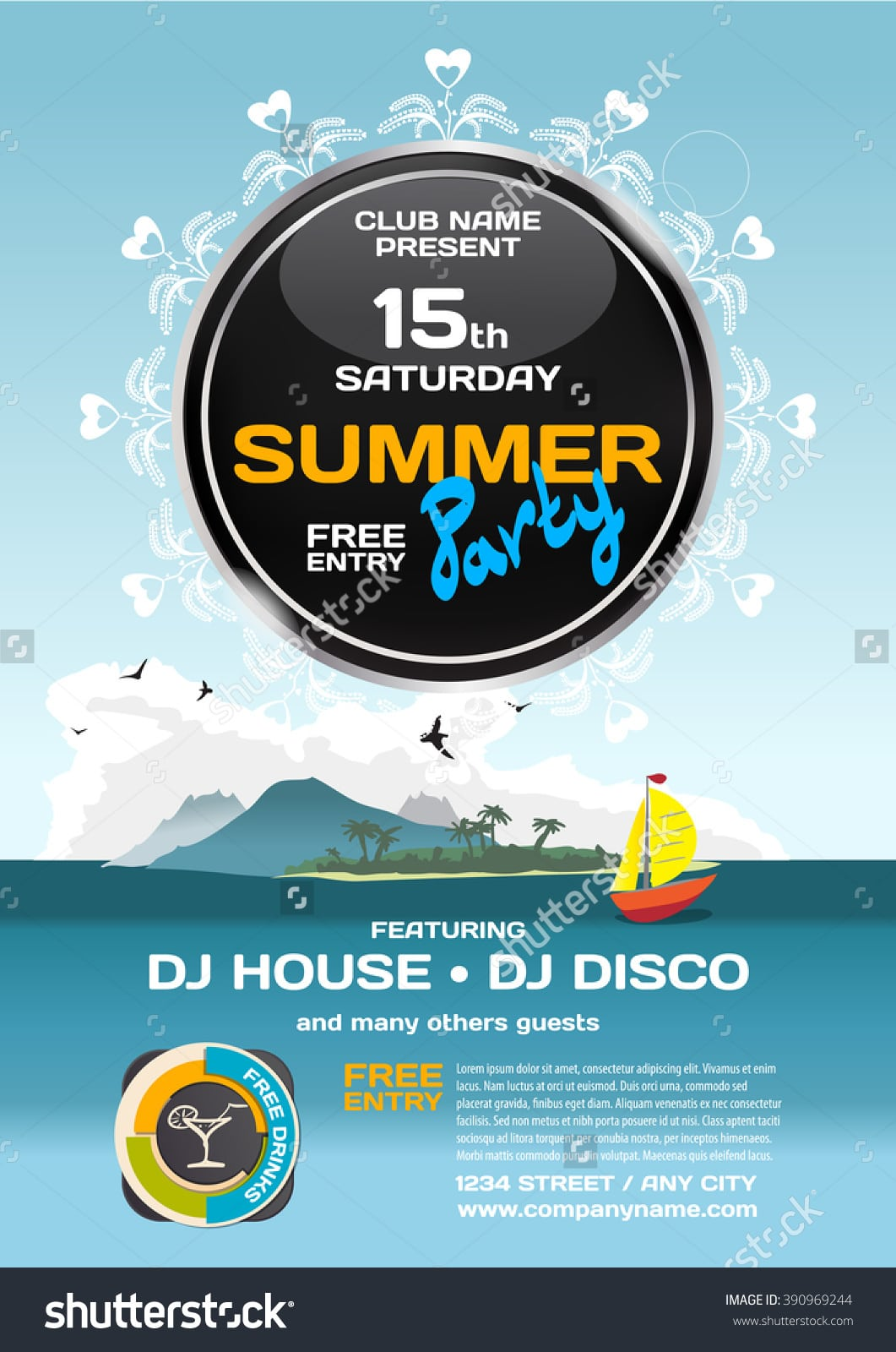 Vector Summer Party Invitation Disco Style Stock Vector 390969244
