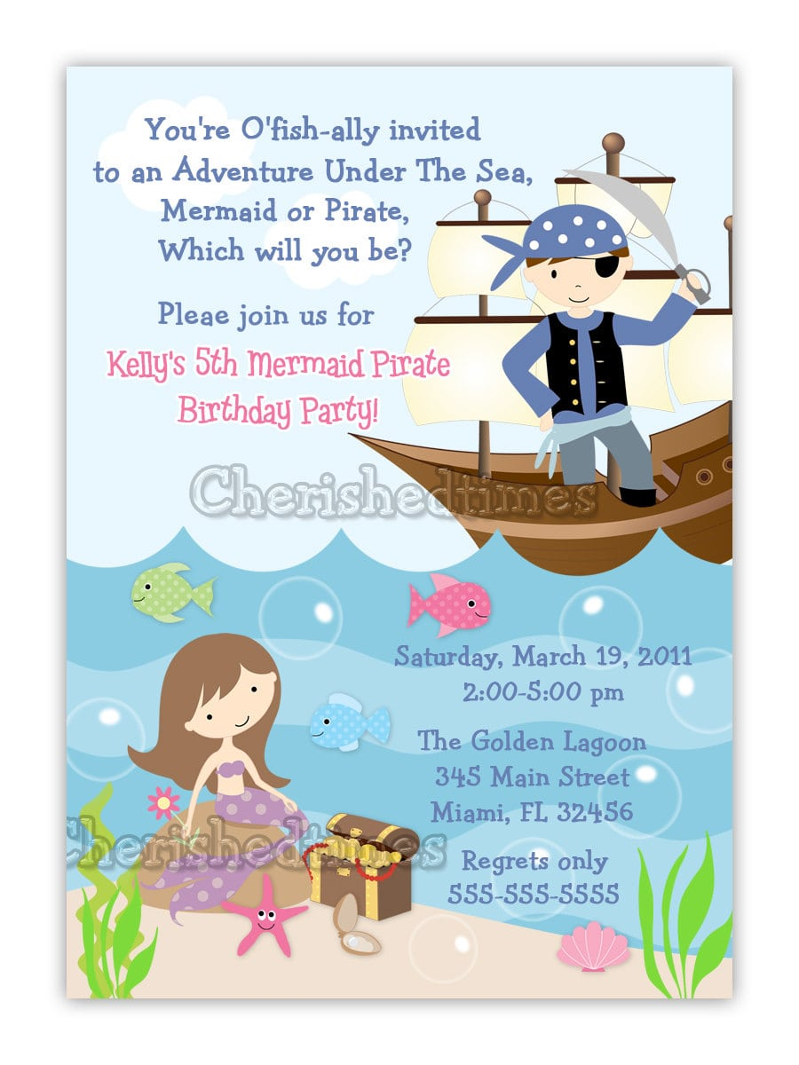 Vertical Mermaid And Pirate Birthday Invitation (you Print
