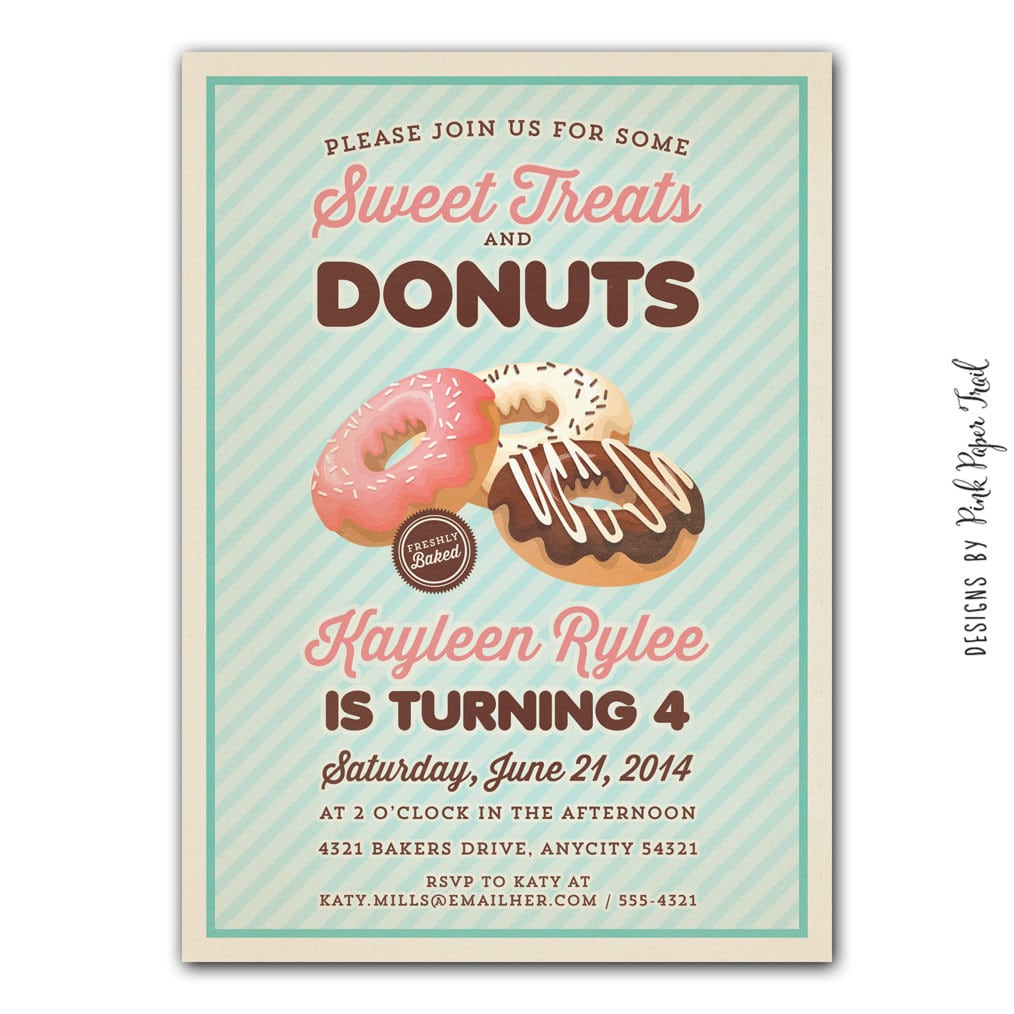 Vintage Donut Party Invitation Sweet Treats And Donut Party