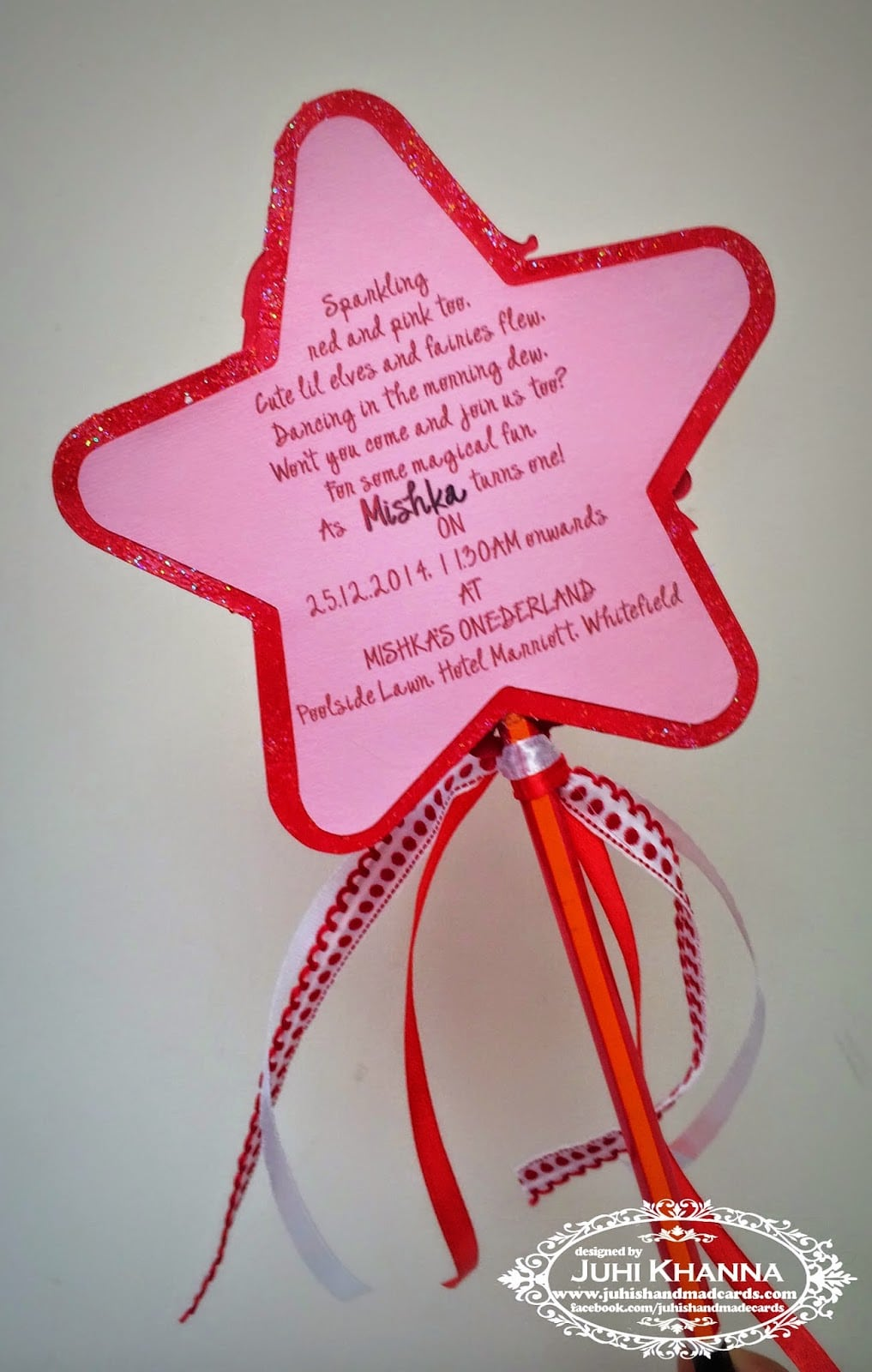 Wand Shaped Handmade Birthday Party Invitations