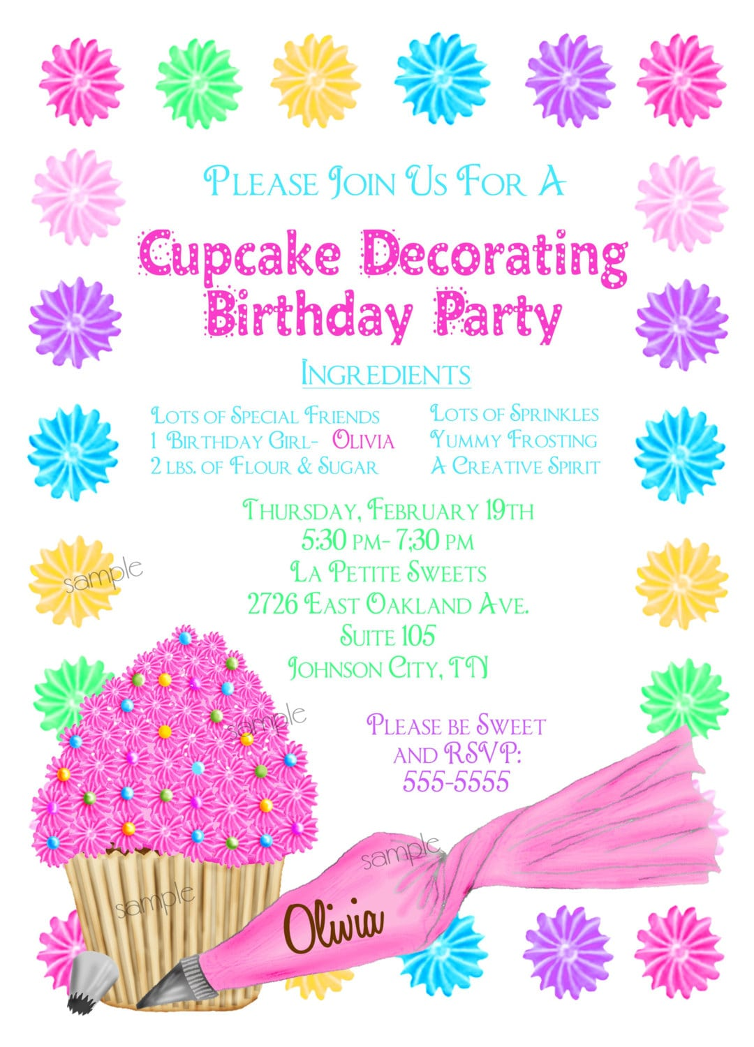 Wording Ideas For Cupcakes Birthday Party Invitation