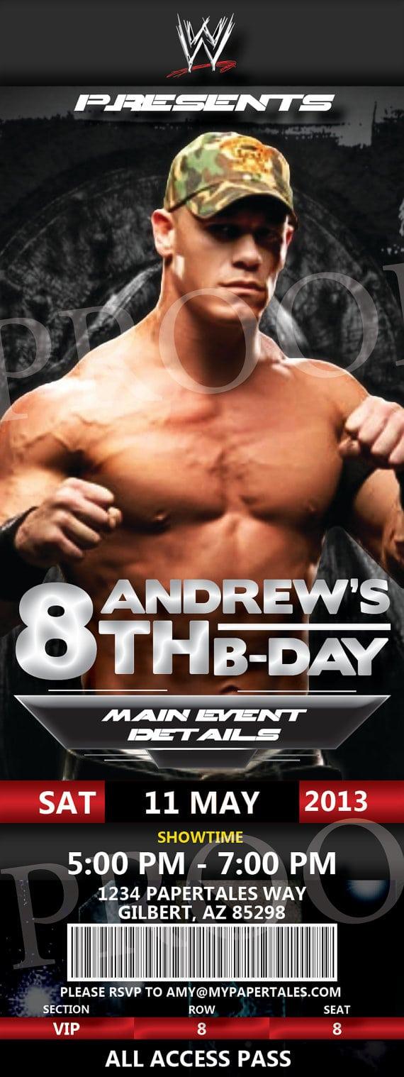 Wwe John Cena Birthday Invitation By Papertalescustom On Etsy