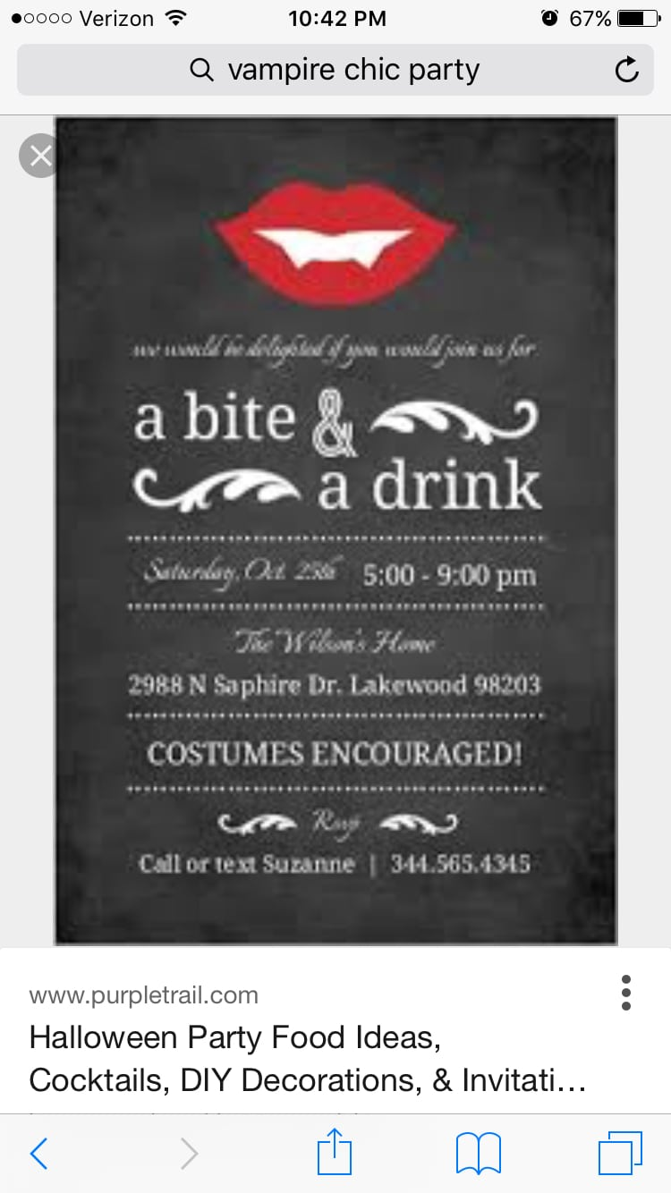 Another Cute Vampire Chic Bridal Shower Invitation Option