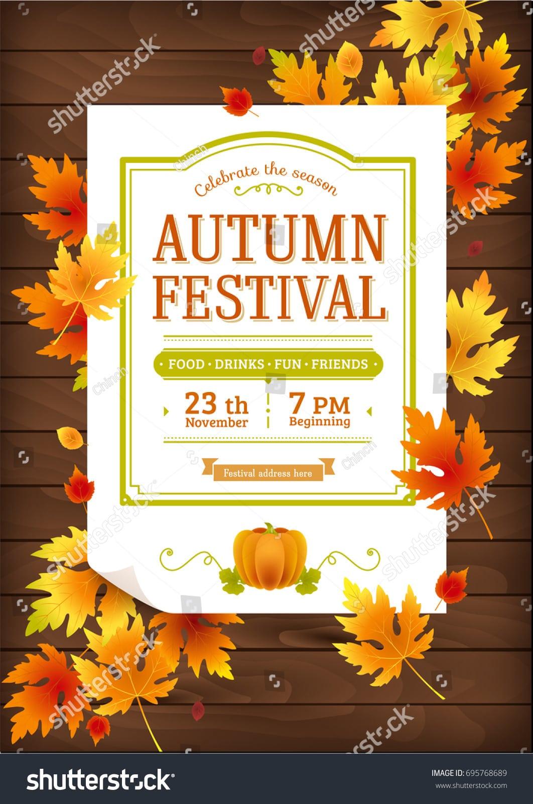 Autumn Festival Fall Party Invitation Autumn Stock Vector