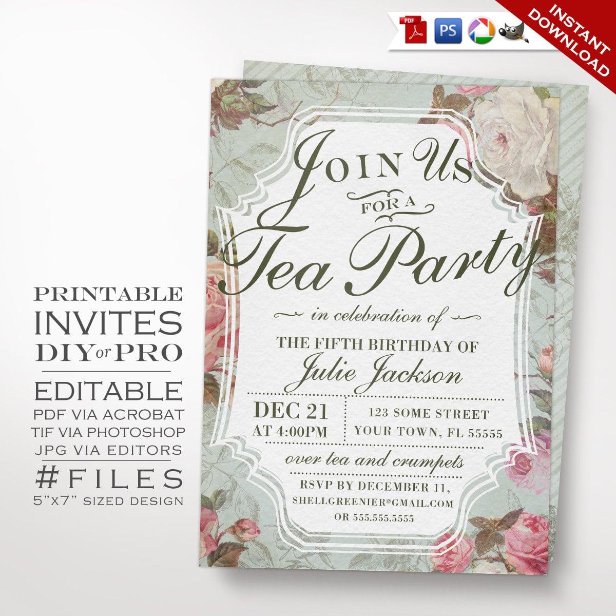 Birthday Tea Party Invitation Template Vintage Rose Tea