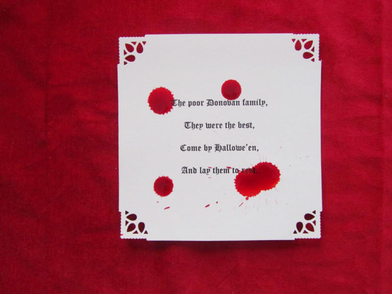 Blood Stained  Halloween Party Invitations