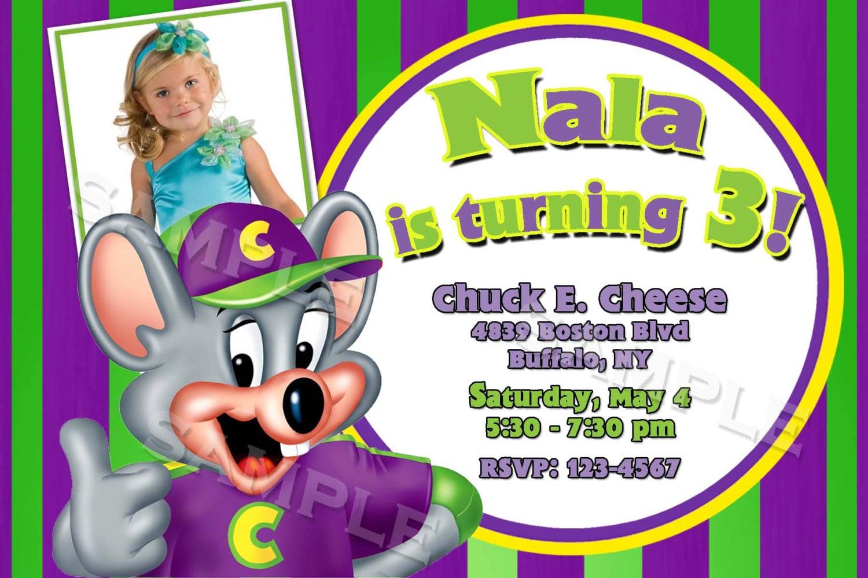 Chuck E Cheese Birthday Party Invitations