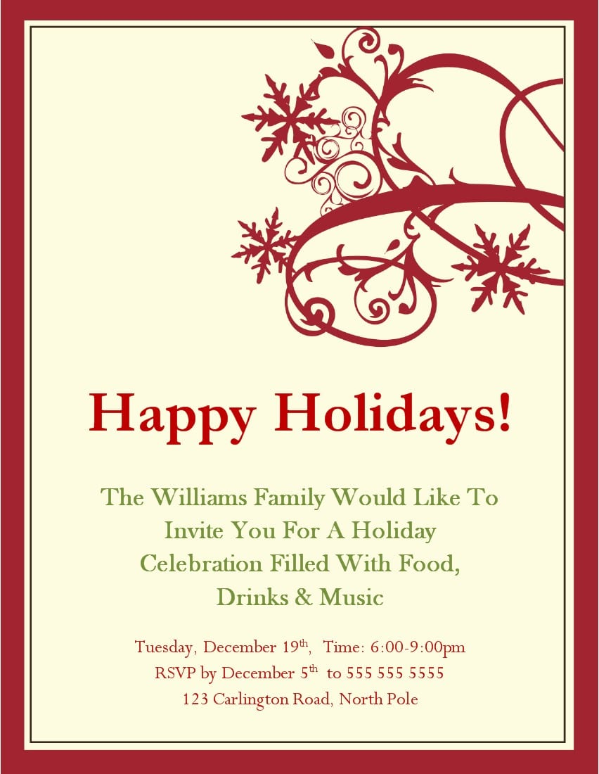Classy Holiday Party Invitations Templates And Cream Background