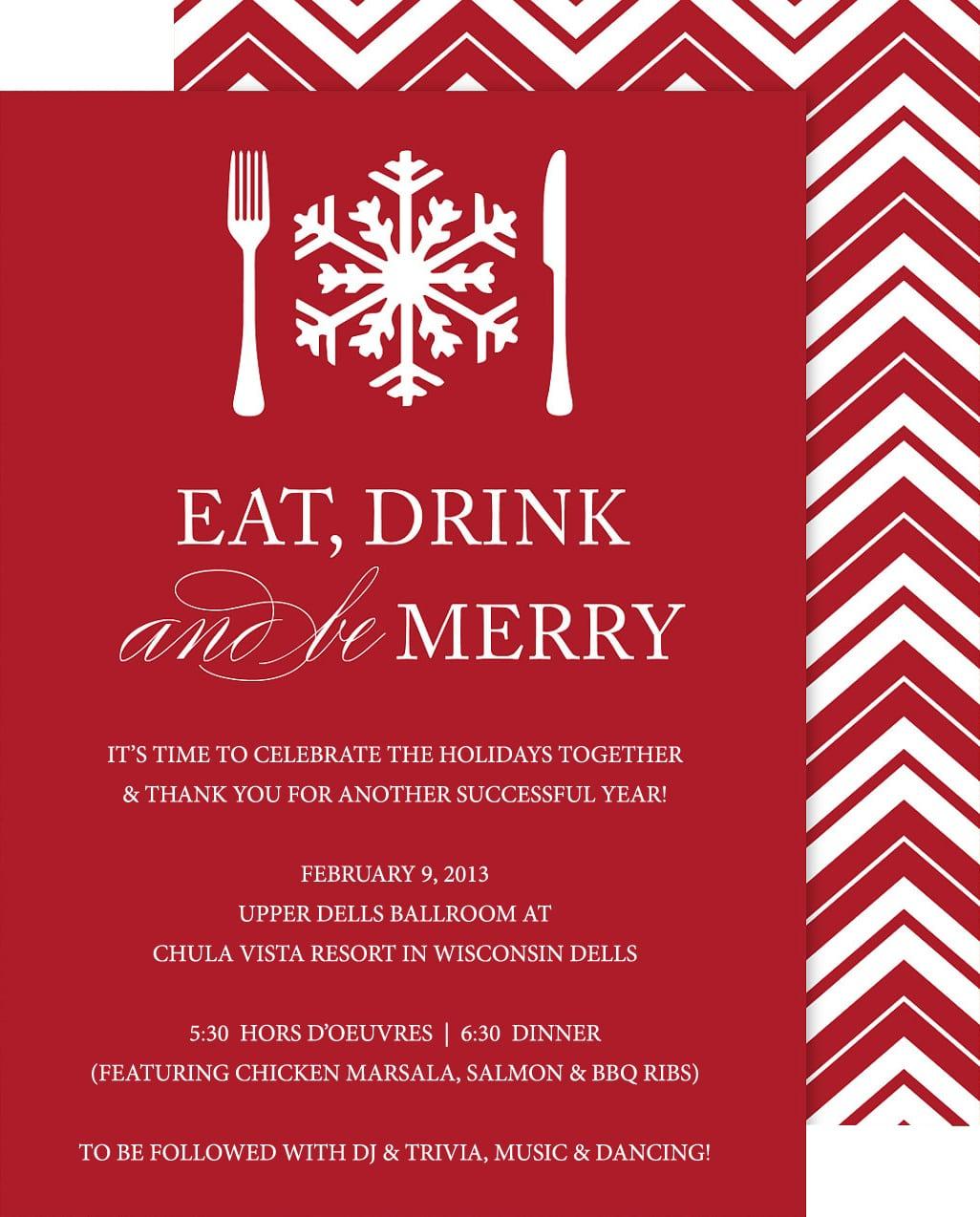 Company Christmas Dinner Invitation – Fun For Christmas