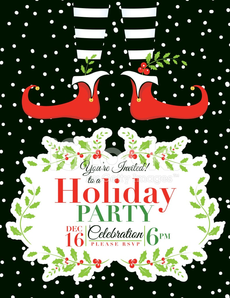 Elf Christmas Party Invitation Template Stock Vector