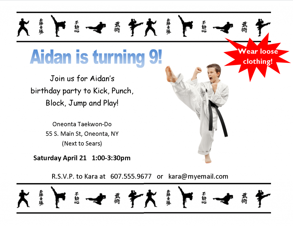 Have A Martial Arts Party At Oneonta Taekwon