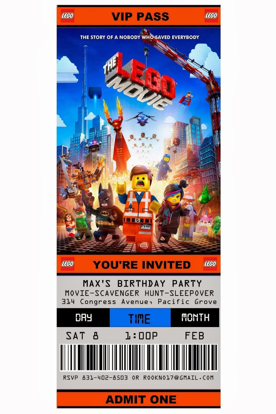 Lego Movie Party Invitations