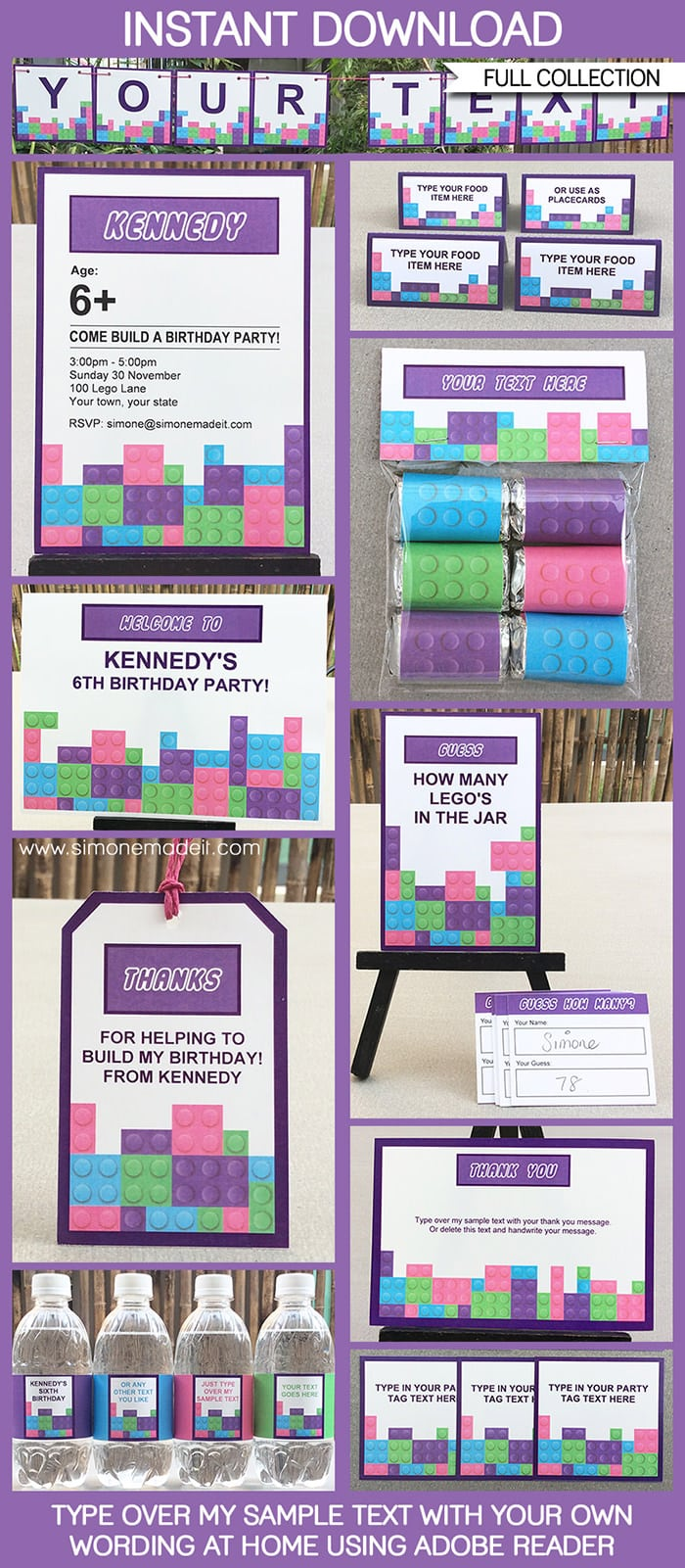 Lego Friends Party Printables, Invitations & Decorations