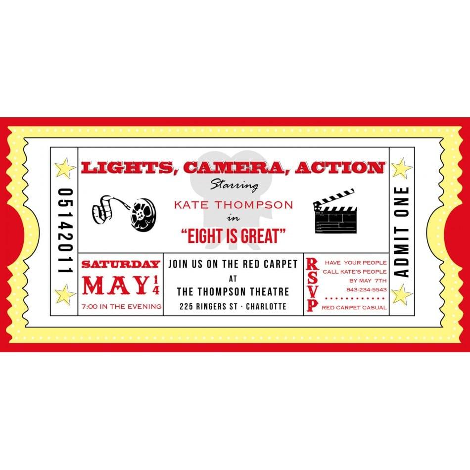 Movie Ticket Invitation Template Free Printable
