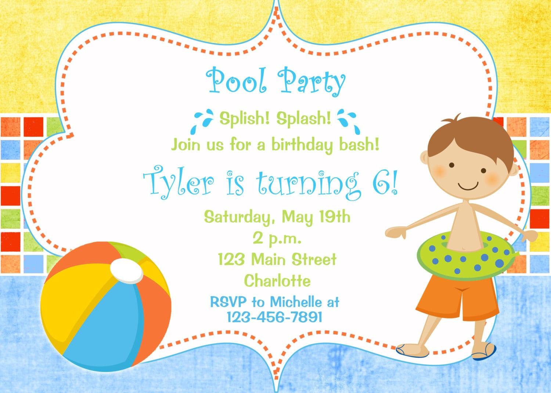 Pool Party Birthday Invitation Pool Party Pool Toys