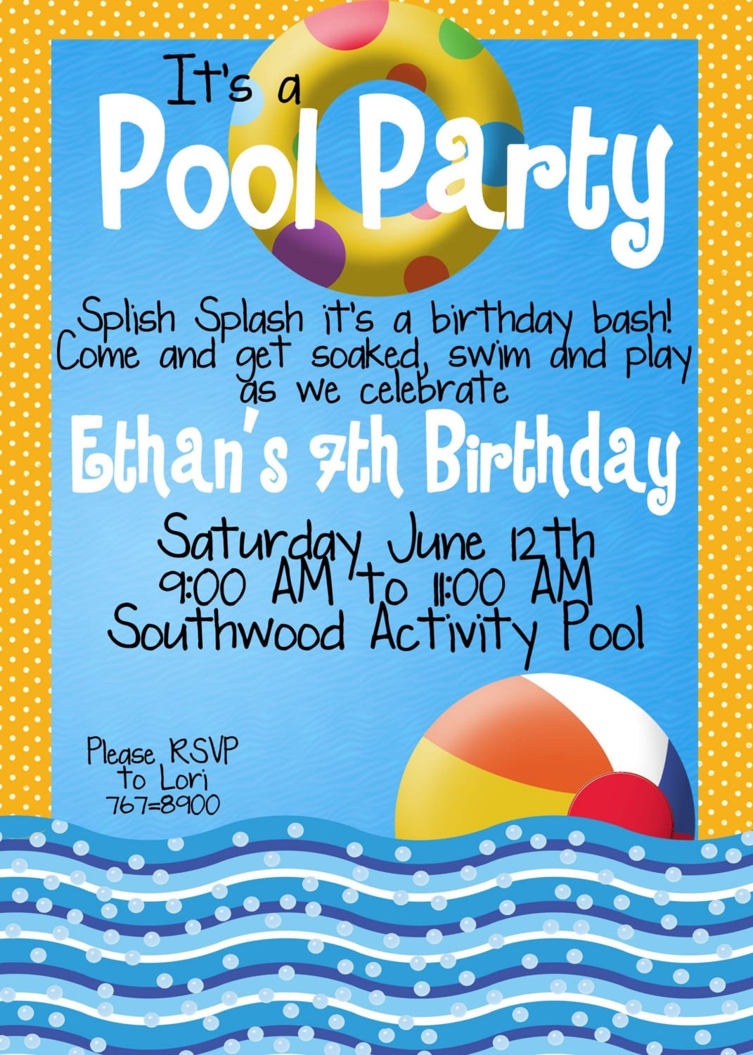 Pool Party Invitations For Kids