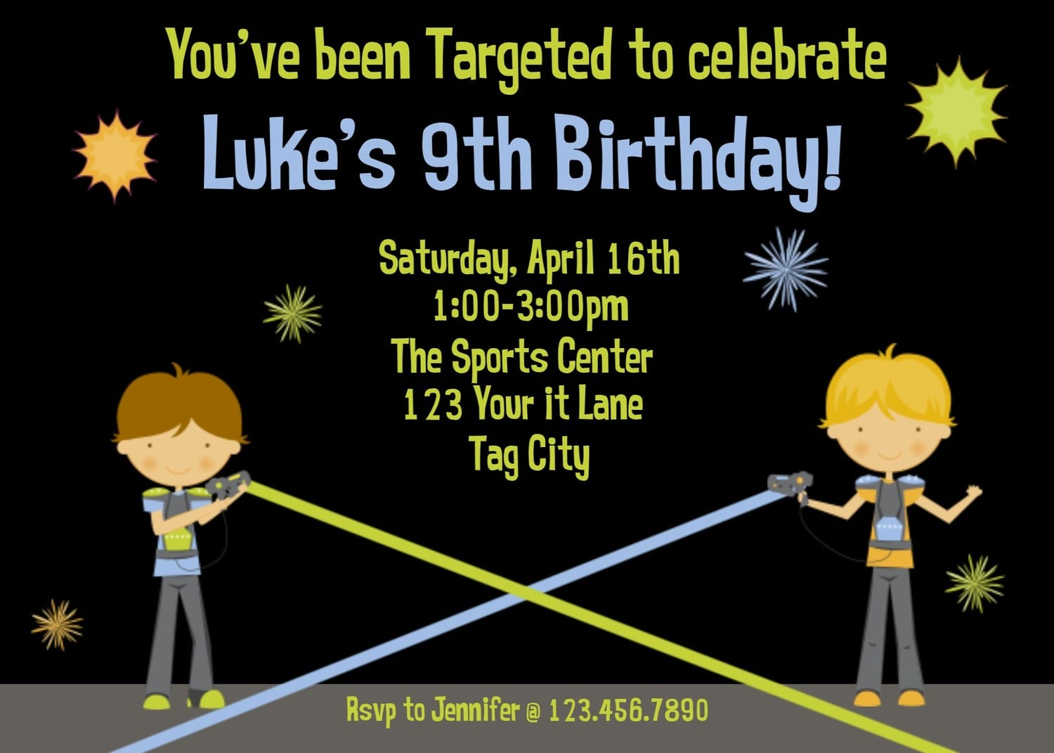 Laser Tag Birthday Party Invitations Free