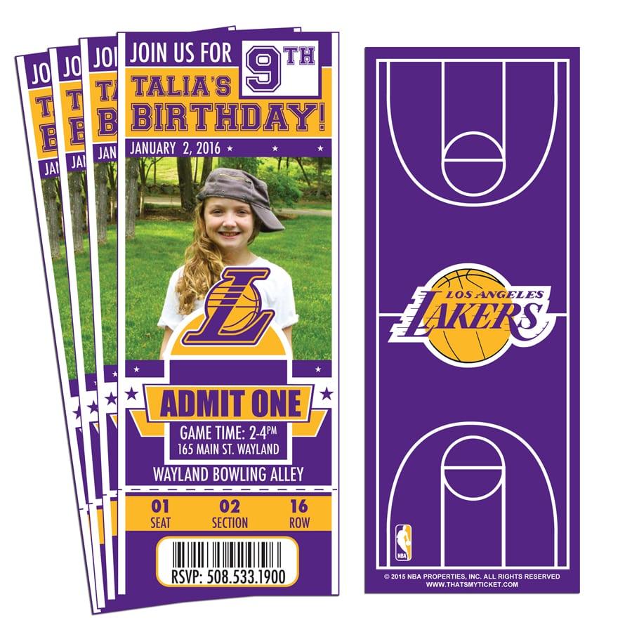 12) Custom Los Angeles Lakers Birthday Party Ticket Invitations