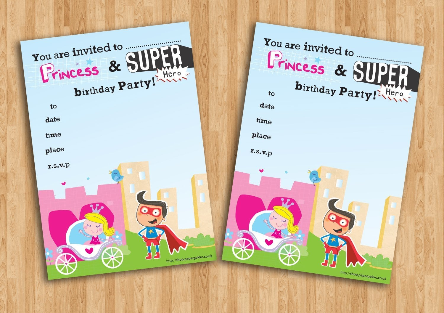20 Children's Birthday Party Invitations Princess And Superhero