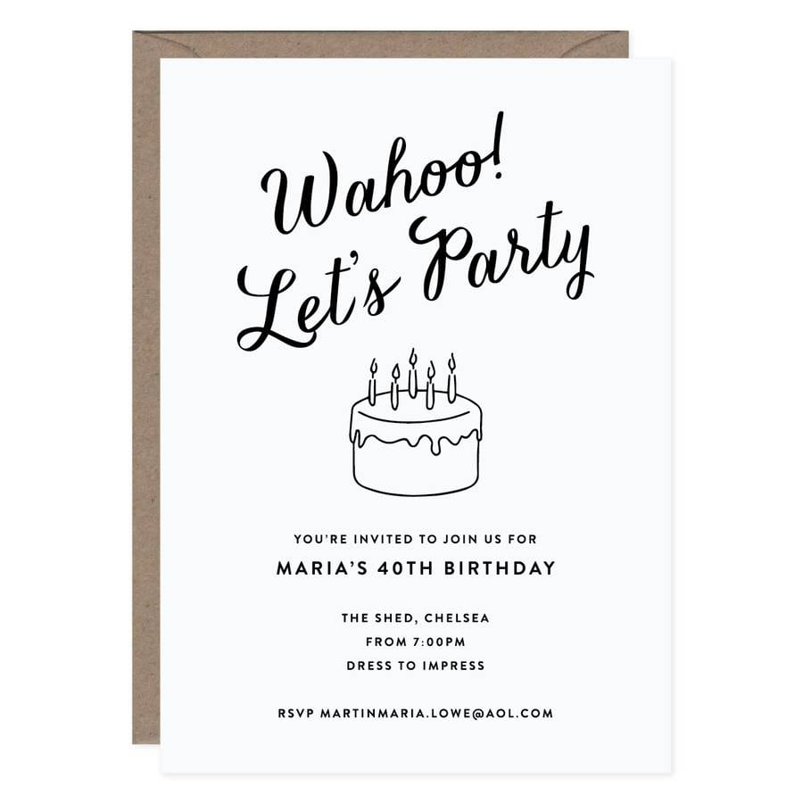 20 Script Personalised Birthday Party Invitations By Lola's