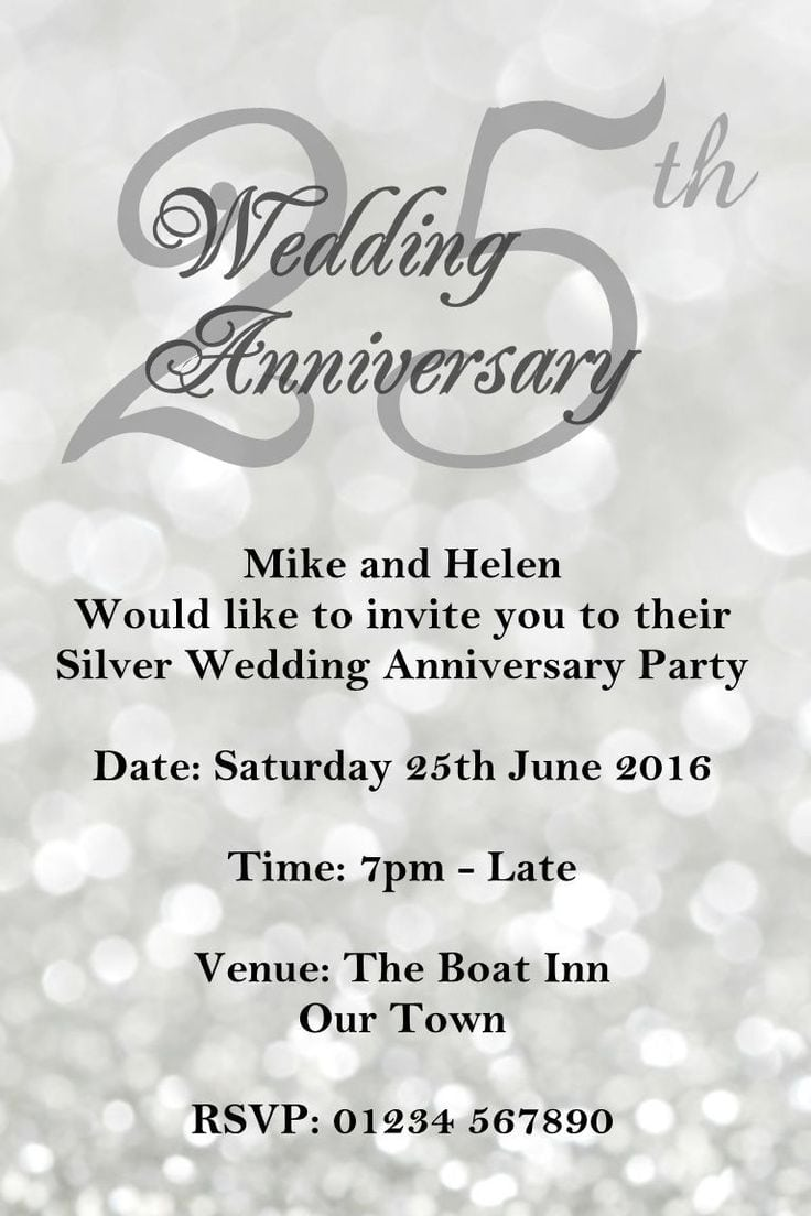 25th Wedding Anniversary Invitation Cards For Parents Gallery