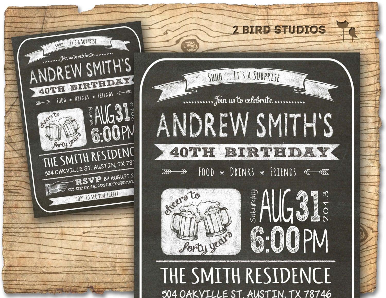 30th Birthday Invitation Male Birthday Party Invitations