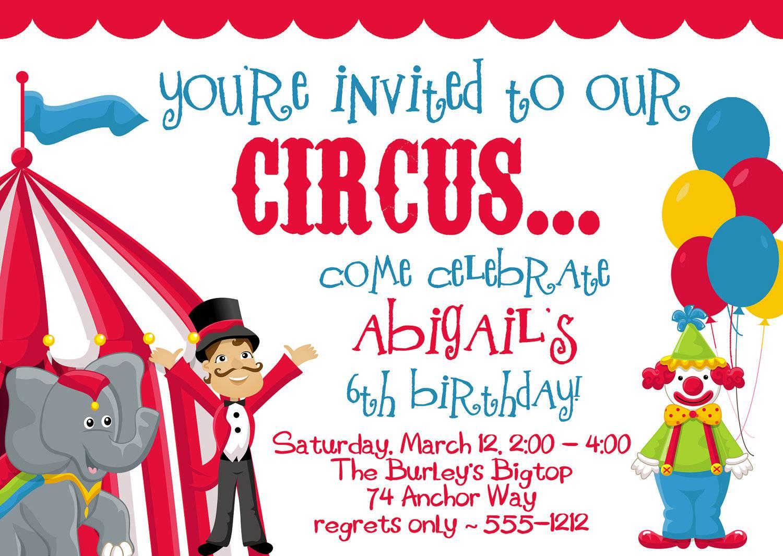 Circus Theme Party Invitations