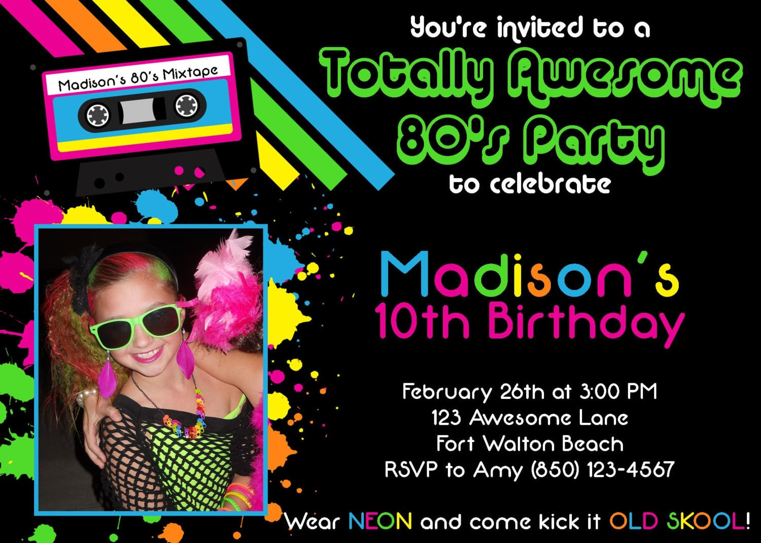 80s Party Invitations 80s Party Invitations With A Decorative