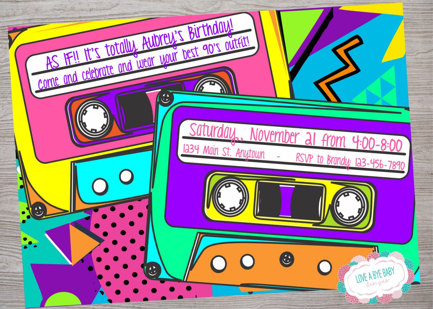 90s Or 80s Theme Birthday Baby Shower Party Invitation