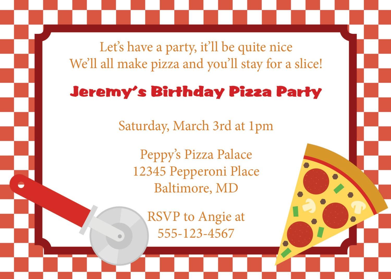 Adorable Pizza Party Invitation Invite Design With Red Checkered