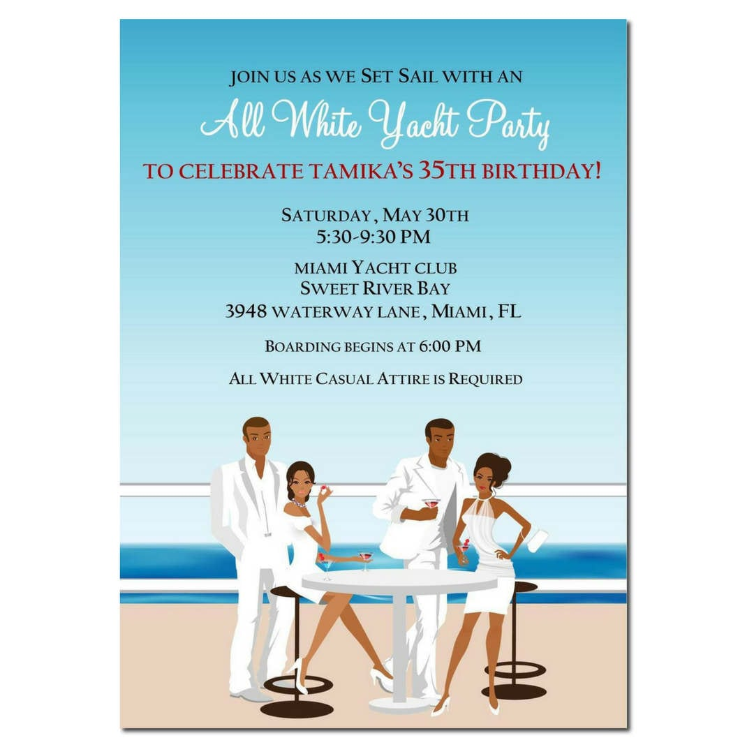 African American All White Yacht Party Invitation African