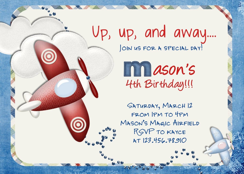 Airplane Birthday Invitation Airplane Printable Airplane Party