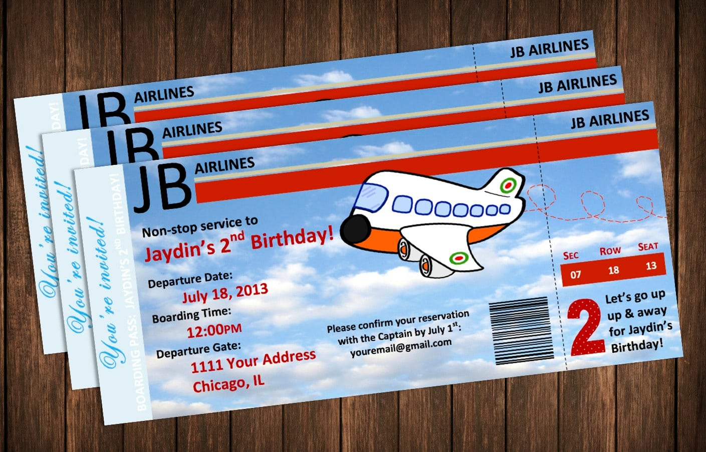 Airplane Invitation Boarding Pass Birthday Party Invite