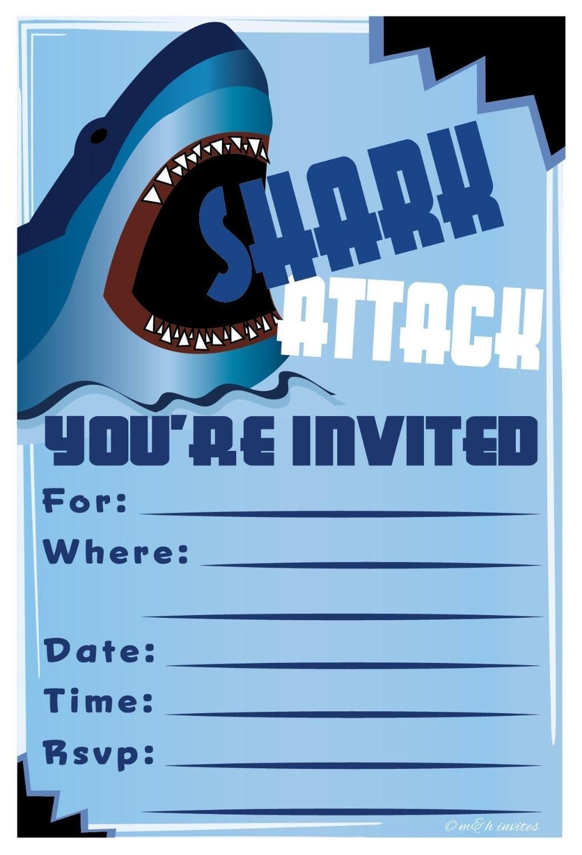 Amazon Com  Shark Birthday Party Invitations