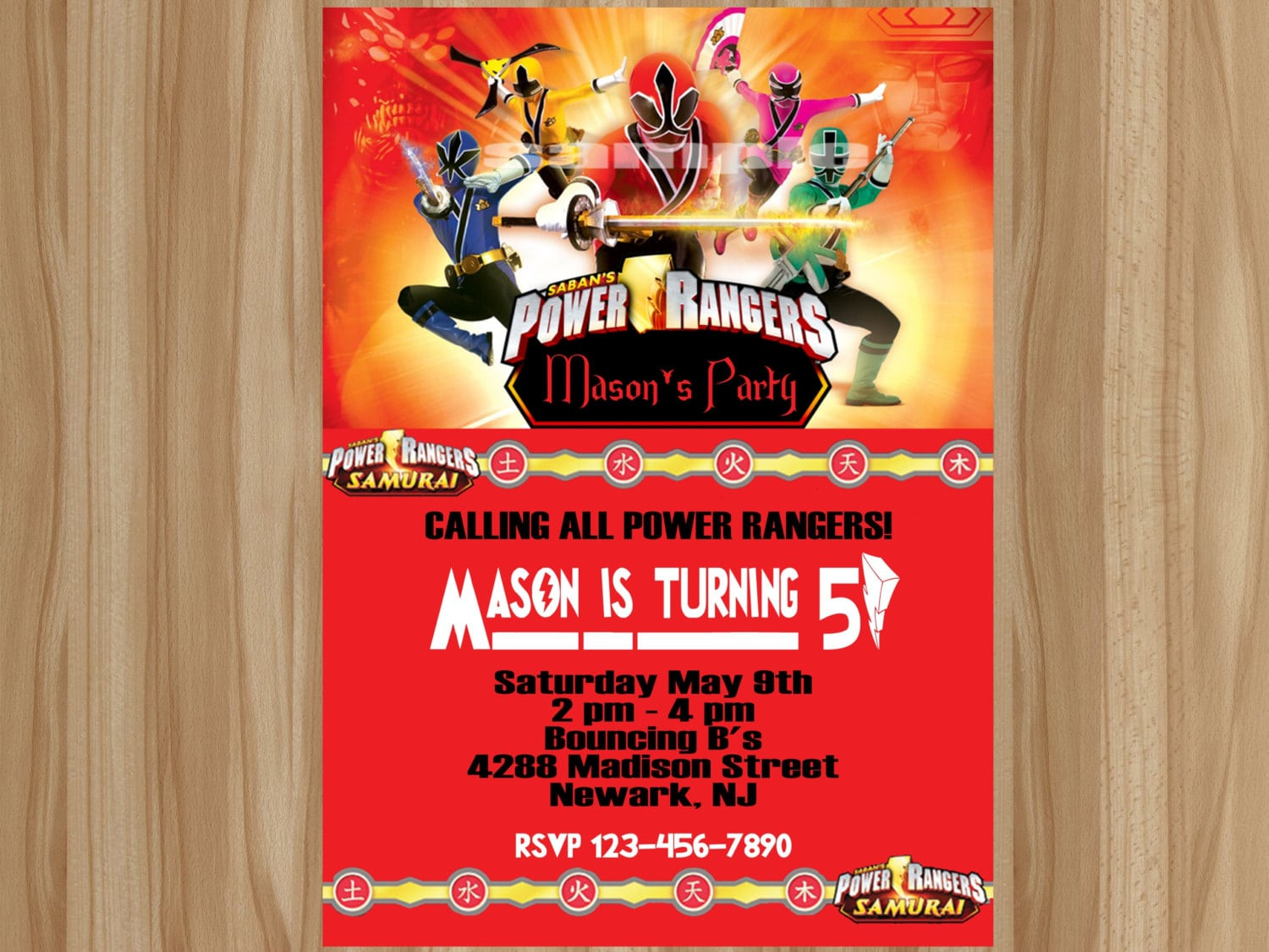 Appealing Power Ranger Birthday Invitations Which Can Be Used As