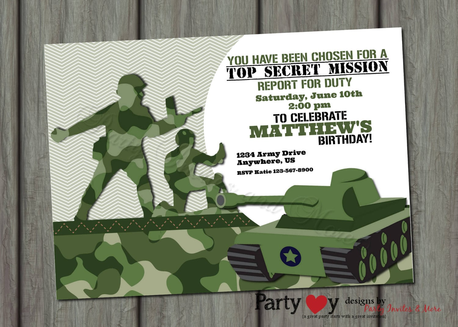 Army Party Invitations Choice Image
