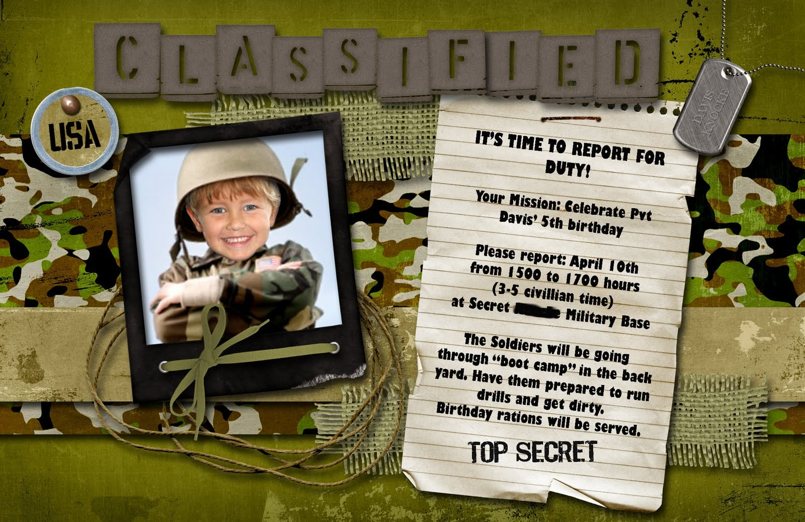 Army Party Invites Choice Image