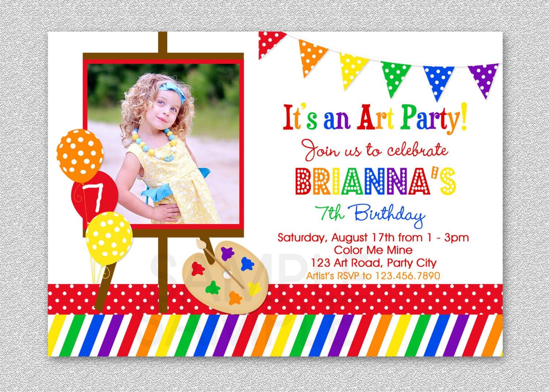 Art Birthday Party Invitations Paint And Create Art Birthday