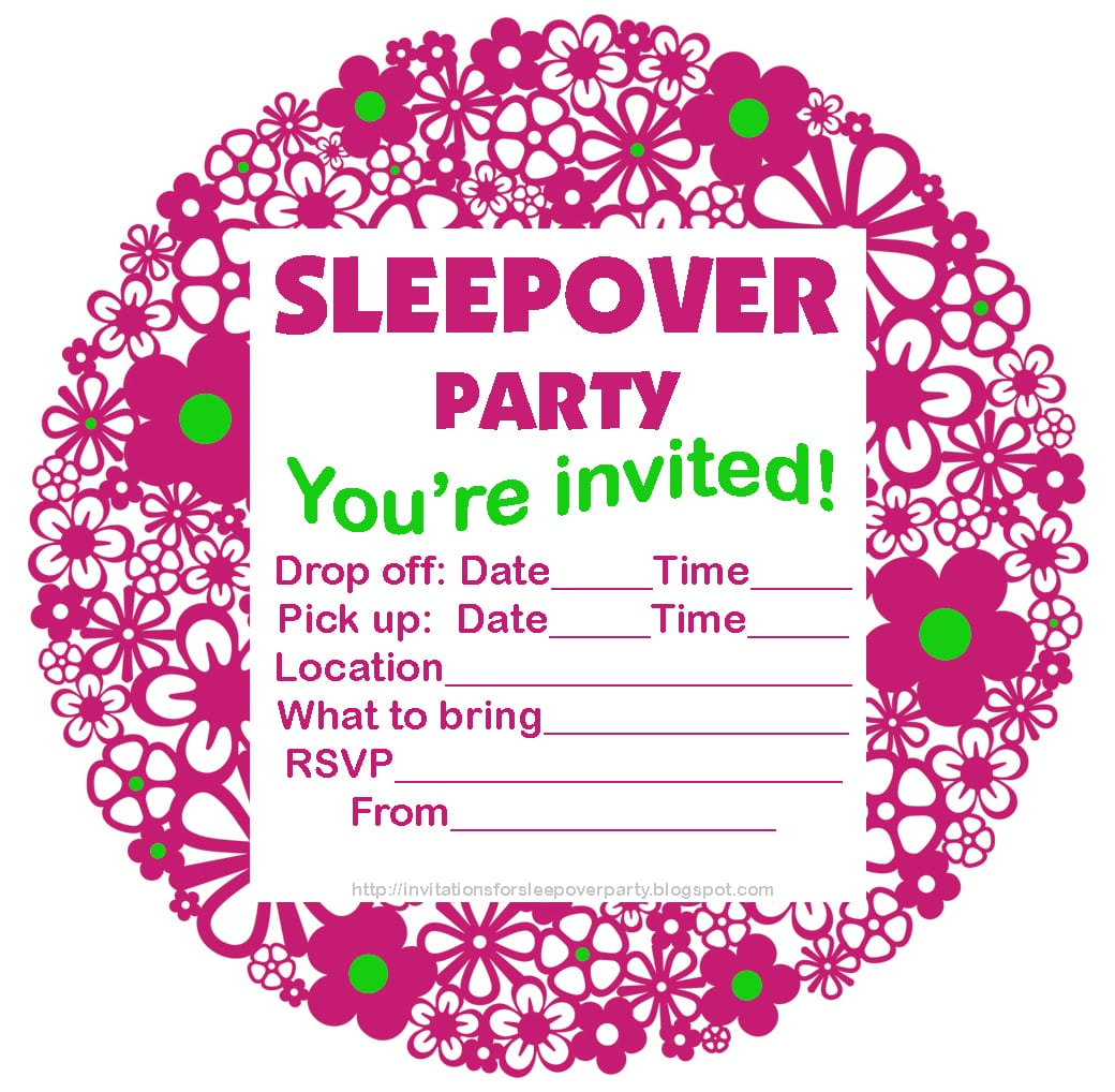 Awesome Pink Slumber Or Pajama Party Invitation With Circle Full