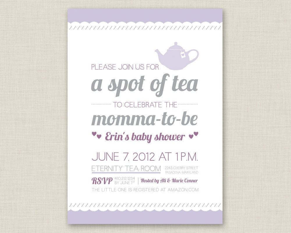 Baby Shower Tea Party Invitations Baby Shower Tea Party