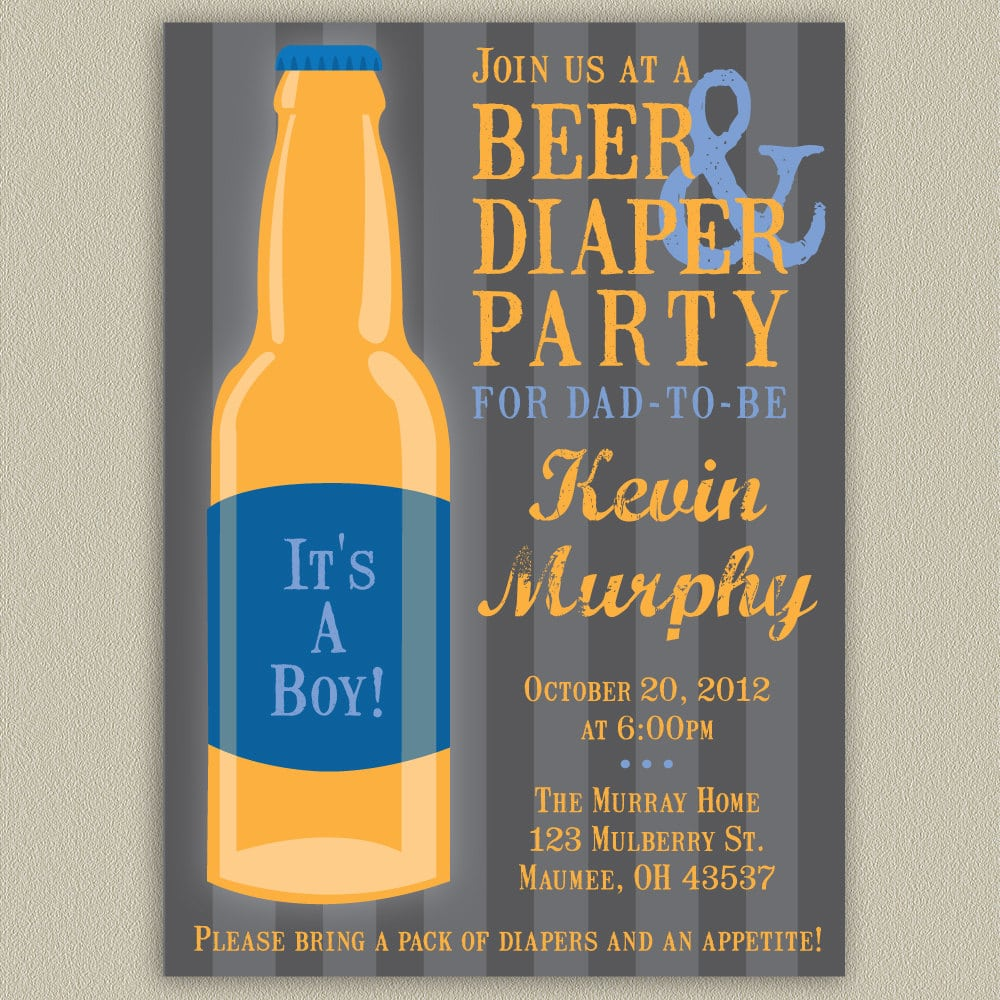 Beer And Diaper Party Invitations