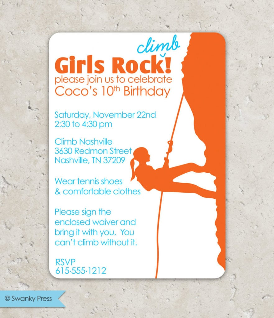 Birthday  Rock Climbing Birthday Party Invitations  Rock Climbing