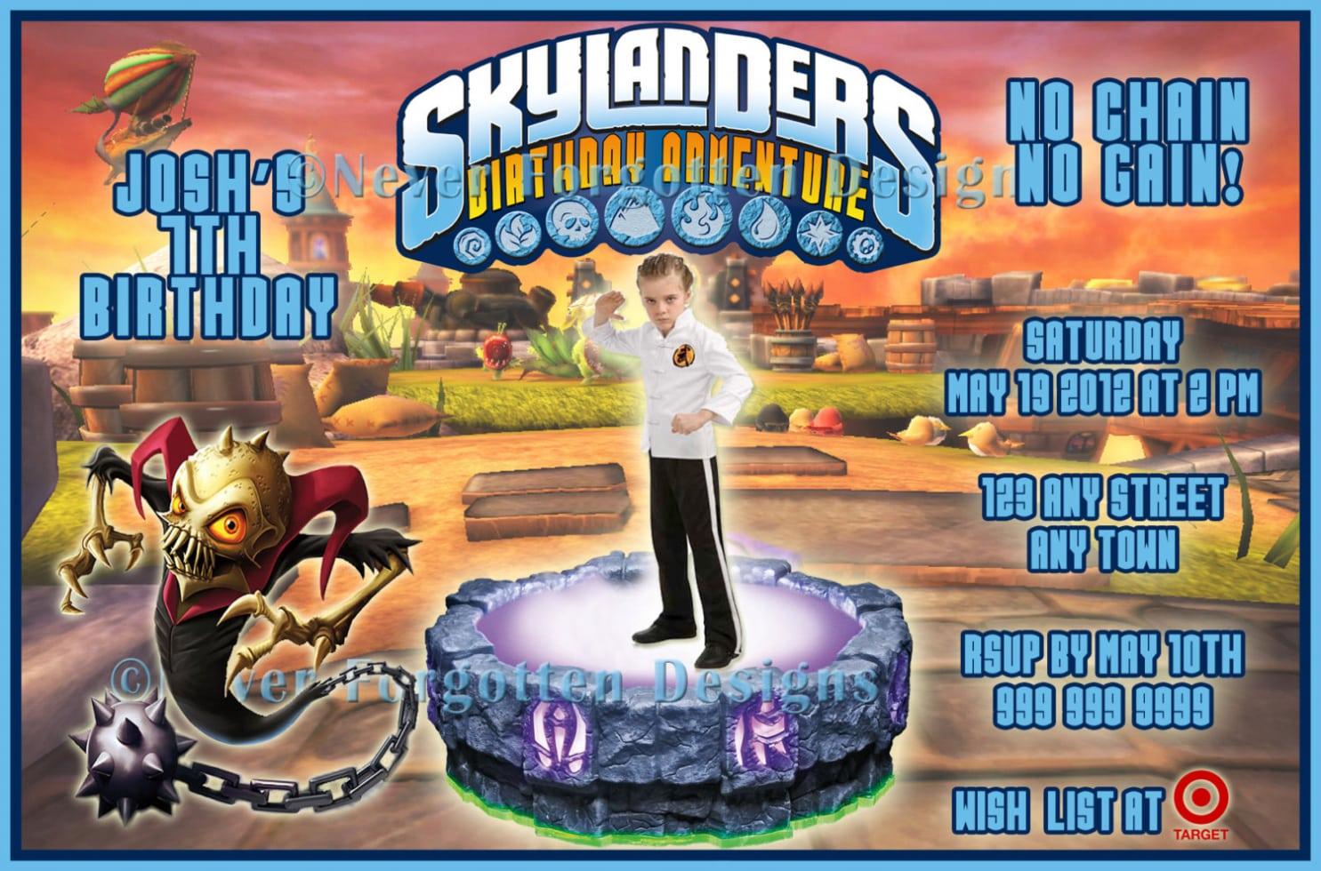 Birthday  Skylander Birthday Party Invitations  Skylander Birthday